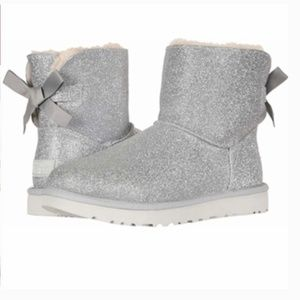 UGG Boots Mini Bailey Bow Silver Sparkle Glitter